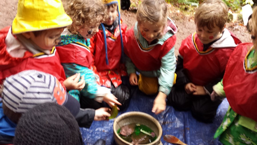 Based on the magic potion in 'Room on the Broom we concocted our own potion in a cauldron. Here is everyone throwing in their bones!