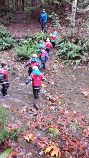 To cross the creek safely we needed to make space between each and move slowly. This photo perfectly shows how adept we are getting at controlling our bodies!
