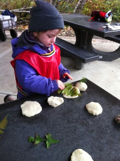 Leaves + Playdough = great sensory activity