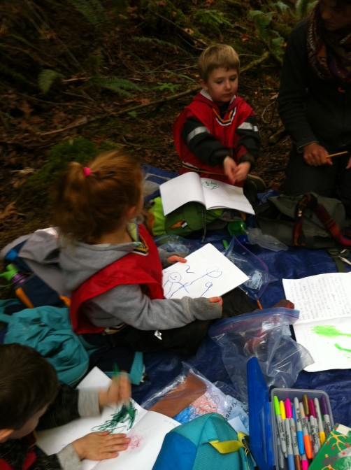 We did a observation activity where the children sat beside a mushroom and then came back to their journals and they drew them and the educators scribed their descriptions for them.