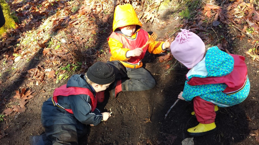 Using sticks shovels and forks to excavate this mound of dirt with many remnants of the previous settlements around the Coal Creek area.