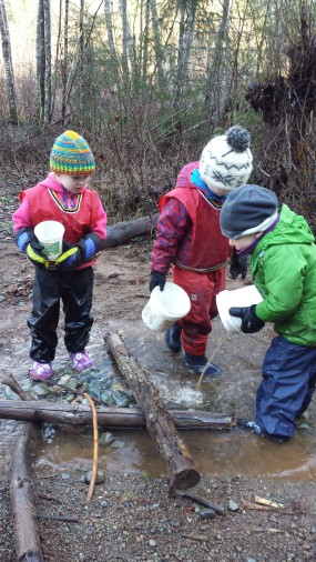 Amelia and Torin are overseeing the actions of their friends to see how they are contributing to the creation of their dam. They was a specific design in mind to block water, where and how that was followed through by all the kids involved.