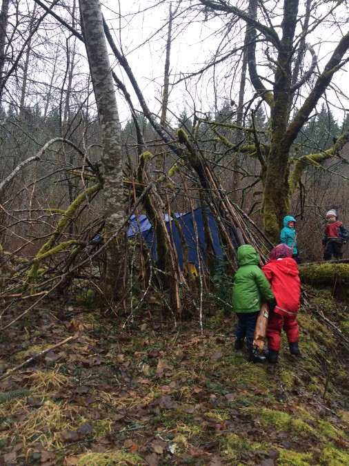 Enlisting others to help you carry and deposit sticks, and logs, was another thing teacher observed. Tasks are shared or divided up amongst the friends.