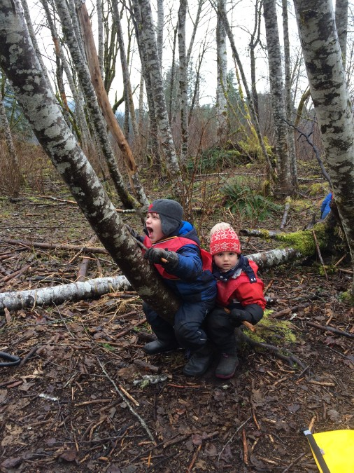 Theo and Dawson share a car that is clearly going VERY fast! Going places and modes of transportation are quite popular themes for the children. We see them act everyday transportation situations in very creative ways in the natural environment.