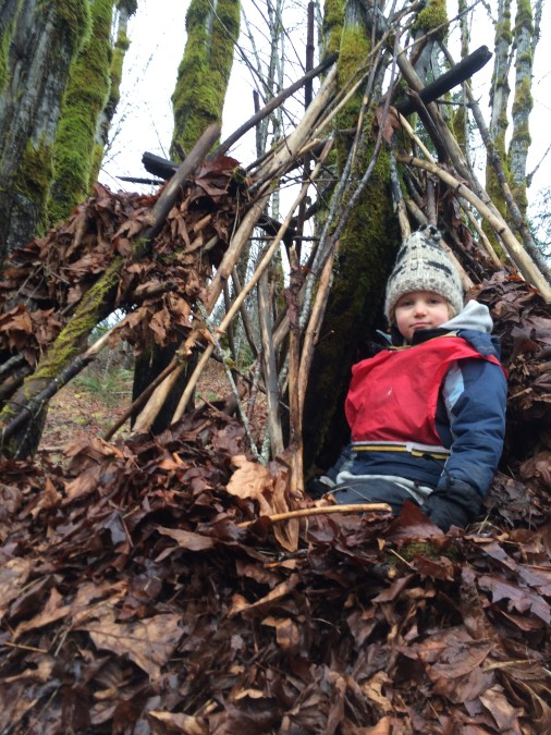 """Jared says """"There's a great view from up here!' when we revisited our maple classroom"""