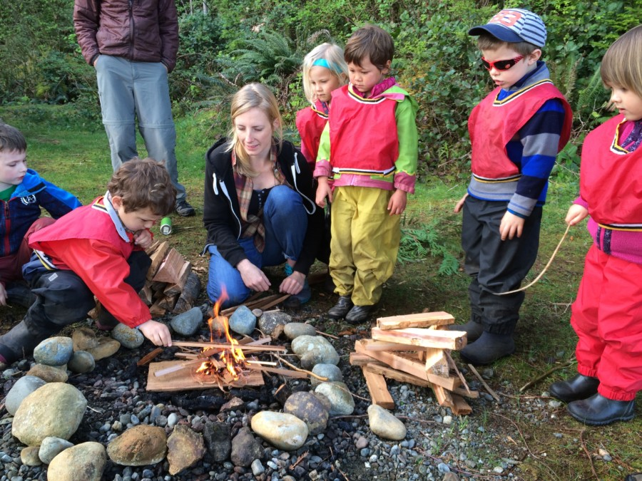 Carefully placing the wood on the fire, the forest friends practiced being safe around fire while at the same time gaining a better understanding of why and how a fire starts and burns!