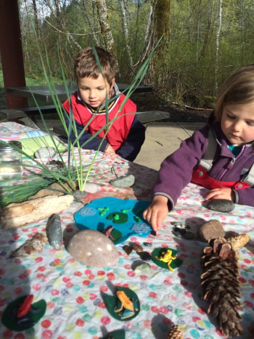 We had a pond - play morning complete with frog's eggs and tadpoles to explore and ignite discussion one morning. Gemma loved playing with the frogs and imagining what they might do.
