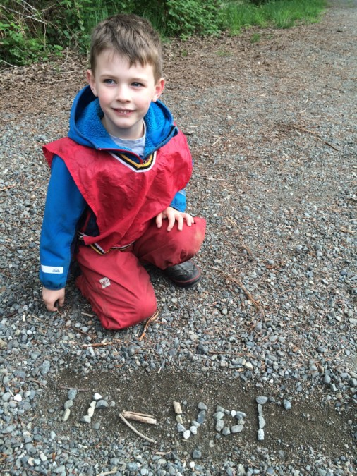 Trevor was proud to share the writing of his name in rocks! Other kids were inspired too. Isn't it amazing what you can do with just plain old gravel?